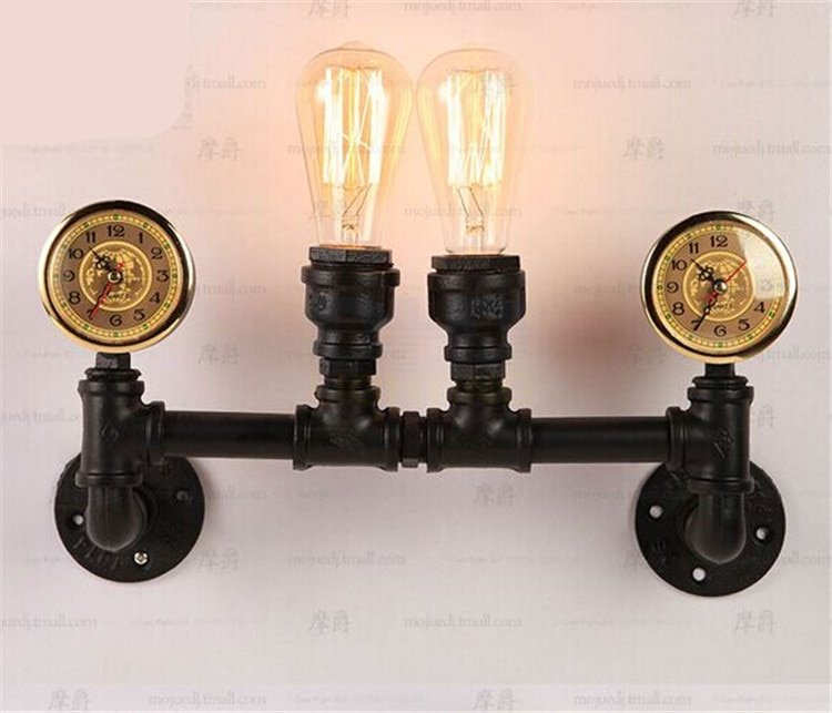 Industrial Steampunk Wall Light With Clocks